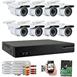 GW Security 8-Channel HD-TVI 1080P Complete Security System with (8) x True HD 1080P Outdoor/Indoor Bullet Security Cameras and 2TB HDD, QR Code Scan Free Remote View