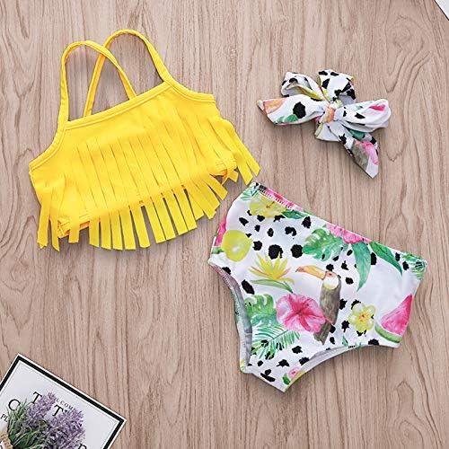 Baby Girl Tassel Halter Tops Floral Shorts with Headband 3Pcs Summer Swimsuit Bikini Beachwear
