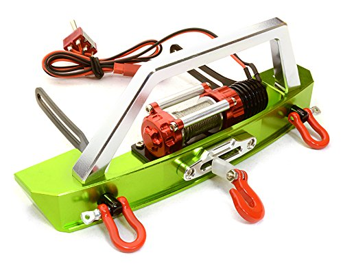 Integy RC Model Model Model Hop-ups C26628Grün Realistic High Torque Winch w/ Scale Front Bumper for Axial 1/10 SCX-10 9d3f94