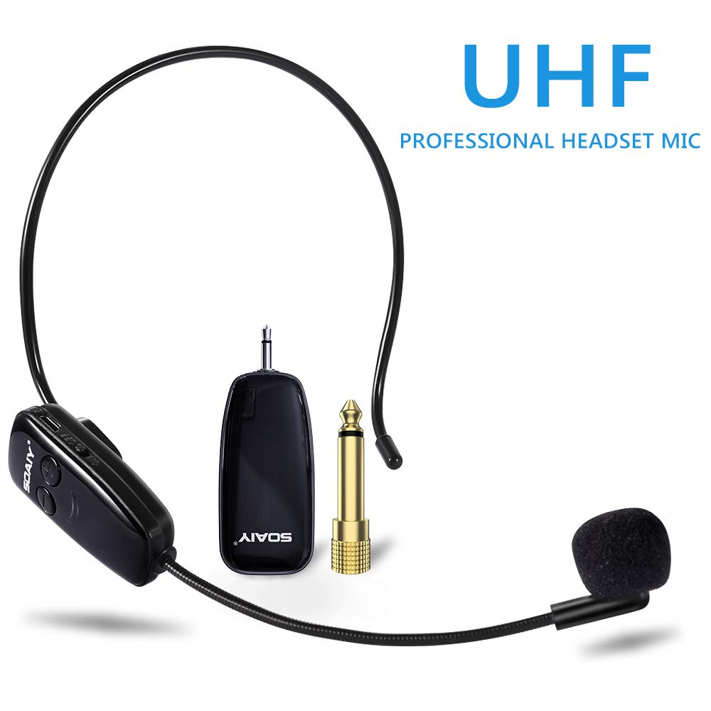 Wireless Microphone, UHF Wireless Mic System Headset, 160 ft (50M) Range, Headset and Handheld 2 in 1, 3.5&6.35mm Port, for PC, Phone, Speakers, Voice Amplifier, PA System(Not Supported iPhone)