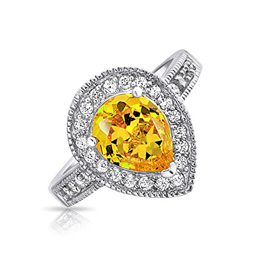 Bling Sterling Silver Canary Yellow CZ Teardrop Engagemen...