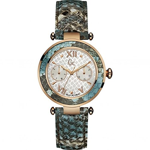 Guess Collection Women's Lady Chic Multicolor Leather Band Steel Case Quartz MOP Dial Watch Y09002L1
