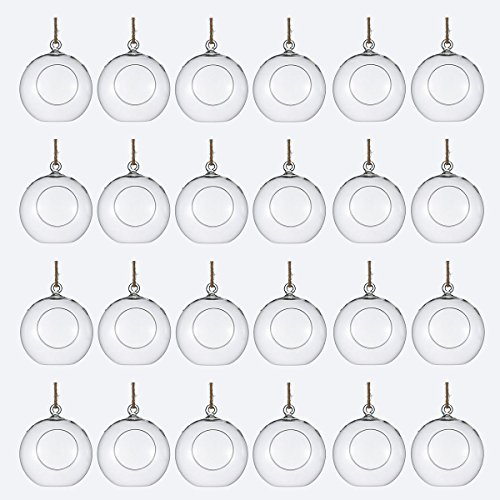NewDreamWorld Package of 24 Clear Glass Orbs Terrarium Hanging Glass Candle Holders 8 cm Tea Light Holders Use for Succulent Gardening or Wedding Decorations from NewDreamWorld