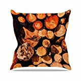 Kess InHouse Juan Paolo The Lumber Yard Brown Orange Outdoor Throw Pillow, 18'' x 18''
