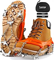Sfee Ice Snow Grips Crampons Traction Cleats Spikes 19 Spikes for Women Men,Anti Slip Stainless Steel Chain Fl