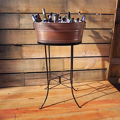 BREKX Aspen Copper Finish Hammered Galvanized Beverage Tub w/Iron Stand - 25 Quart by BREKX (Image #1)