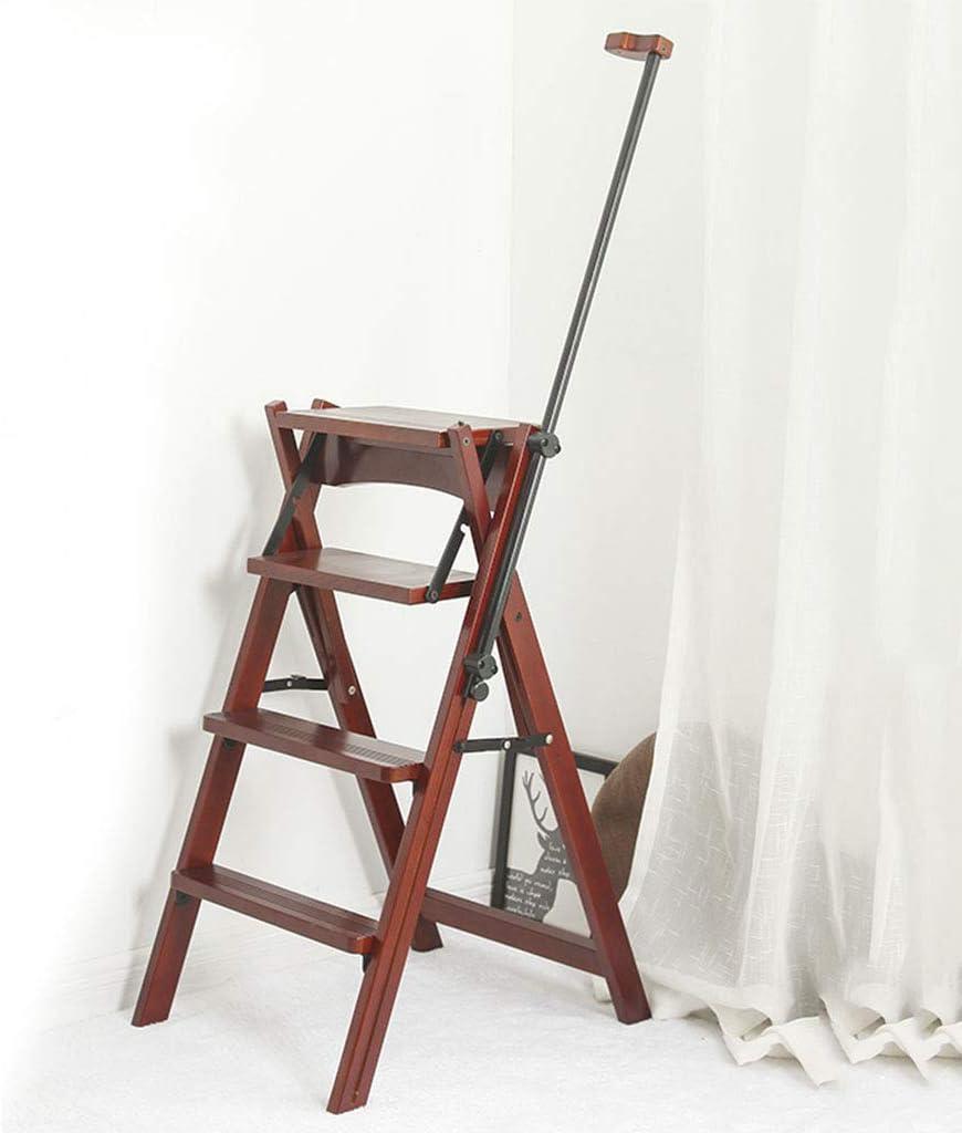 Step Stool, 4 Steps Wooden Step Ladder,Folding Design Ladder with Telescopic Armrests, Foldable Step Stool-Shelving Ladder Home Kitchen Library, 330LB Cherry Color