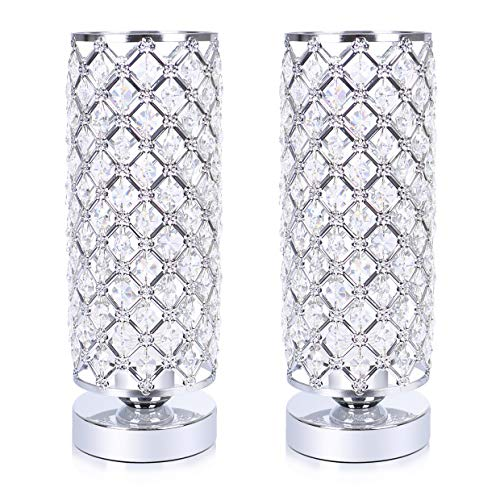 Lamp Octagonal Table - Elegant Crystal Table Lamp Set of 2, Hong-in Desk Lamp with Crystal Shade, Night Light Bedside Lamp, Nightstand Lamps for Bedroom, Living Room, Dining Room, Coffee Table 2 Pack (Silver Chrome)