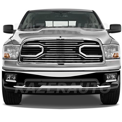 Razer Auto Chrome Big Horn Complete Grille Factory Replacement Grille w/Shell for 2009-2012 Dodge RAM 1500