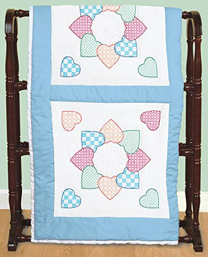 "Jack Dempsey Stamped White Quilt Blocks 18""X18"" 6/Pkg-Patchwork Hearts"