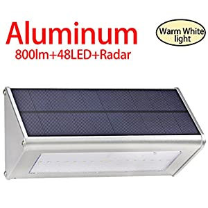 Licwshi 800 Lumens Solar Light 48 LED Lights Waterproof Outdoor Aluminum Alloy Housing, Radar Motion Sensor Light for Step, Garden, Yard, Deck-warm white