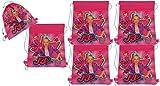 JoJo Siwa 6-Pack 14-inch Sling Bags Drawstring Cinch Sack Totes, Pink