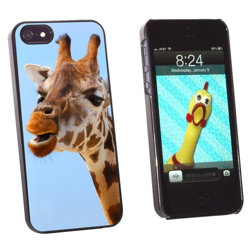 Graphics and More Funny African Giraffe Snap-On Hard Protective Case for Apple iPhone 5/5s - Non-Retail Packaging - Black