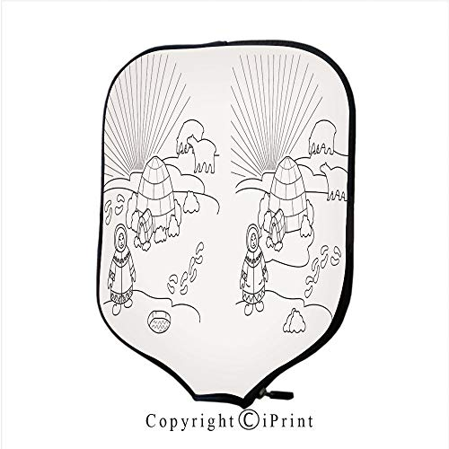 Lightweight Neoprene Single Pickleball Paddle Cover,Coloring Page Life Cycle of Butterfly(Size:8.23