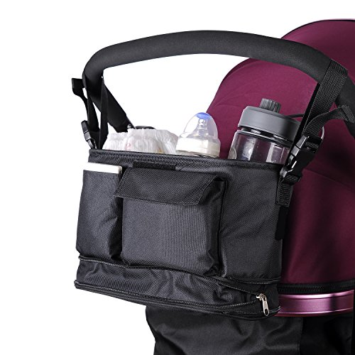 Universal fit Baby Stroller Pram Organizer Bag Extra Storage 2 Cup Holders Extensible Strap Accessories Phone Change pockets Black