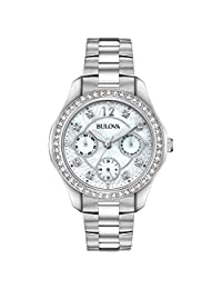 Bulova Women's Analog White Dial Japanese-Quartz Watch (Model:96N111)