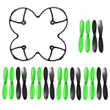 AFUNTA Propeller Blades Protection Guard Cover and Props 5x sets for Hubsan X4 H107C H107D Quadcopter--Black / Green