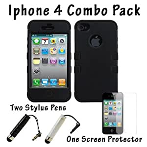 Bloutina DragonCell Black 2 in 1 Hybrid PC Plastic and Silicone Skin Gel Protective Shell Phone Case Cover for Apple iPhone...