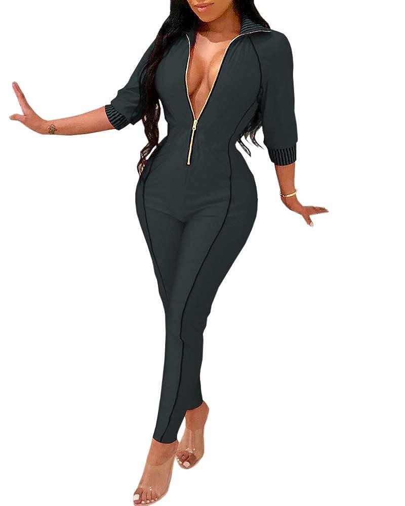 d84539fc0254 Amazon.com  Bbalizko Womens Sexy Deep V Neck Jumpsuits 3 4 Sleeve Zipper  Bodycon Clubwear Romper  Clothing
