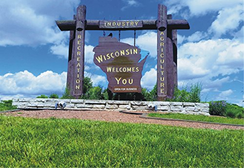 (Wisconsin Welcomes You, Sign, Skyline, WI, State, Travel, Souvenir, Locker Magnet 2 x 3 Fridge Magnet)