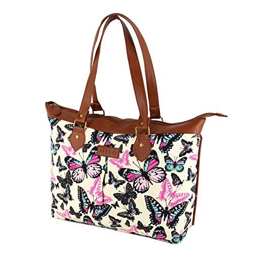 Miso farfalla Stampa Borsa di tela bianco/multi da donna shopper borsa, White/Multi, H: 32cm; W: 39cm; D: 10cm.