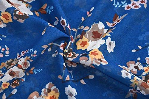 Shirt Blouse t Chemisier Femme Top Haut Bleu Col Florale Soie en V de Mousseline WTgWqUPF