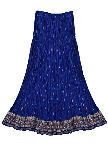 Ayurvastram Anu Pure Cotton Hand Block Printed Crinkled/Crushed Long Skirt: Navy: 3X (Best Figure Size In Bollywood)