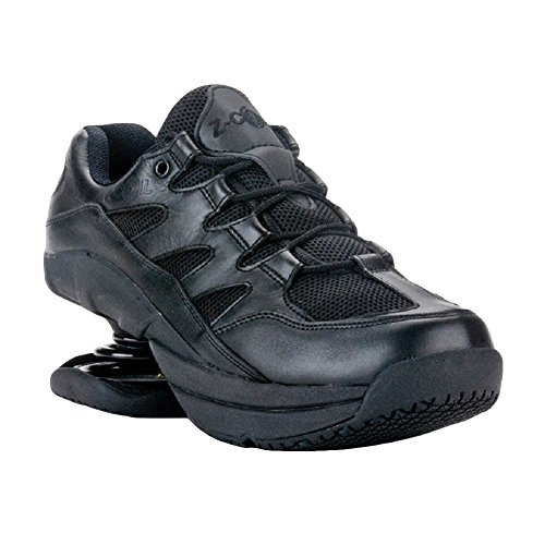 Z-CoiL-Pain-Relief-Footwear-Mens-Freedom-Slip-Resistant-Black-Leather-Tennis-Shoe