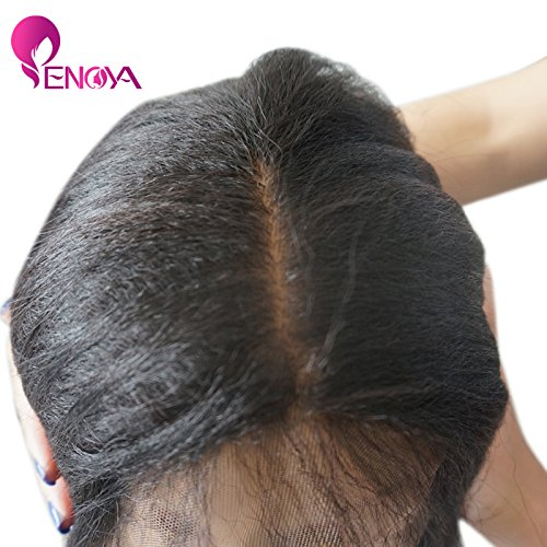 Natural Looking Italian Yaki Lace Front Wigs/ Silk Top Lace Front Wigs Best Brazilian Remy Human Hair Wigs with Baby Hair for African Americans 130 Density (12'' Silk Top Lace Front Wig) by Enoya (Image #4)