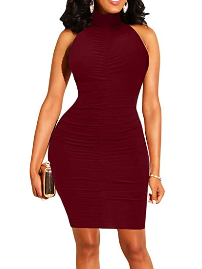 a40fced811c BEAGIMEG Women s Sexy Ruched Bodycon High Neck Sleeveless Formal Midi Dress  Wine Red