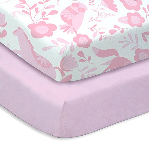 Pink Folk Animals 2 Pack Crib Sheet Set (2) Soft Microfiber By Where The Polka Dots ()