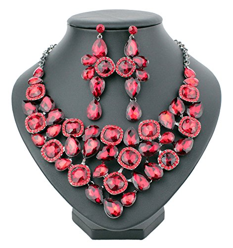(Janefashions Halo Ruby Red Austrian Cystal Rhinestone Bib Statement Necklace and Earrings Set Prom Dance Party Pageant Bridal N915)