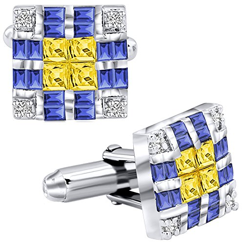 Men's Sterling Silver .925 Original Design Cufflinks with Canary Yellow Princess-Cut, Azure Blue Baguette-Cut and Round-Cut CZ Stones, Platinum Plated, Solid Hinges, 15 - Link Design Diamond