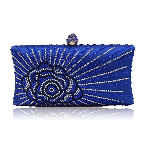 Flada mujeres y señoras caliente perforación rhinestones flor noche embrague bolso monedero con cadena verde Azul