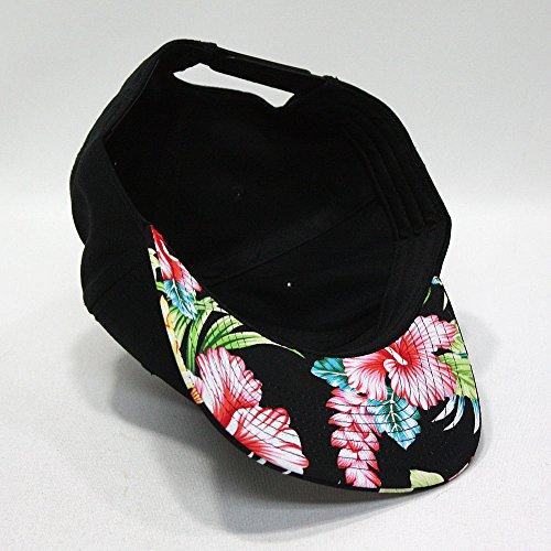 Premium Floral Hawaiian Cotton Twill Adjustable Snapback Hats Baseball Caps (Hawaiian/Black/Black Flat) by Vintage Year (Image #2)