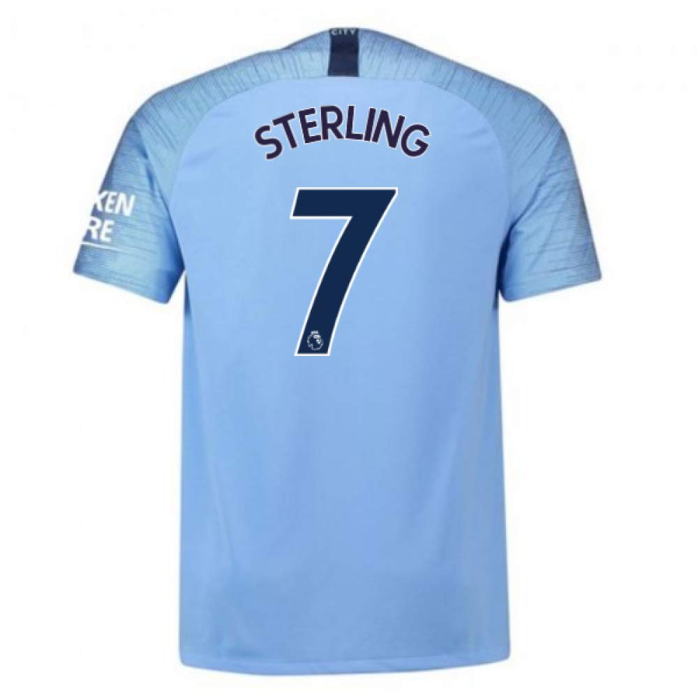 2018-2019 Man City Nike Vapor Home Match Football Soccer T-Shirt Trikot (Raheem Sterling 7)
