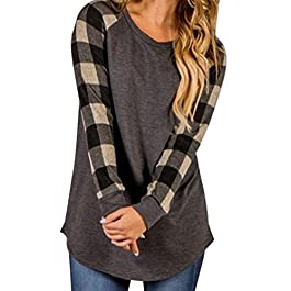 VJGOAL Womens Autumn Lady O-Neck Long Sleeve Plaid Stitching Sweatshirt Pullover Tops Blouse Shirt