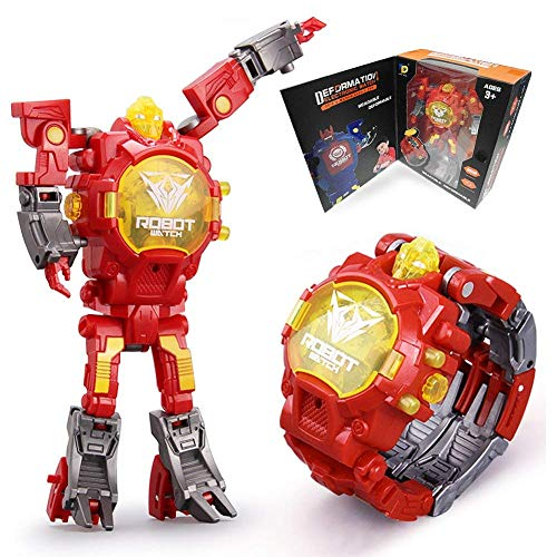 Toys Kids 2 in 1 Electronic Watch Deformed Robot Manual Transformation Robot Toys Childrens Gift 3-6 Ages(Red)
