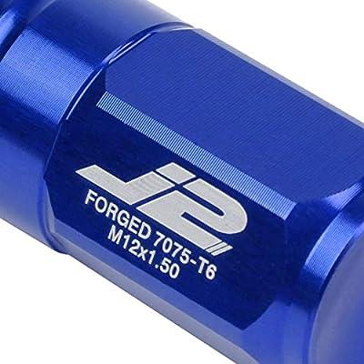 J2 Engineering LN-T7-007-15-BL Blue 7075 Aluminum M12X1.5 20Pcs L: 50mm Close End Lug Nut w/Socket Adapter: Automotive