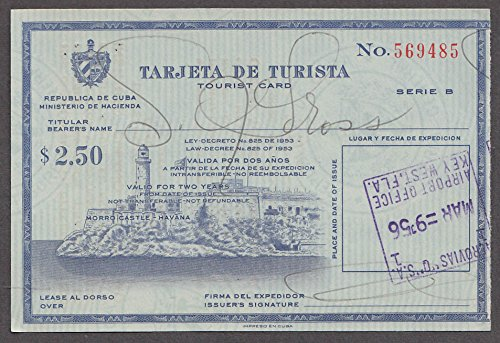 Tarjeta de Turista Tourist Card Cuba 1956 Valid for 2 Years ...
