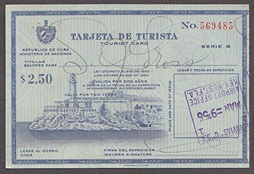 Tarjeta de Turista Tourist Card Cuba 1956 Valid for 2 Years ...