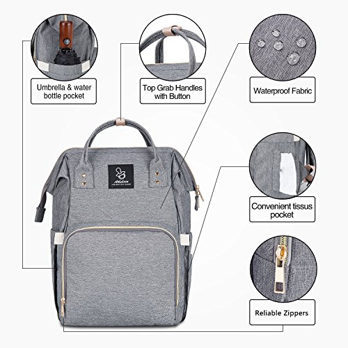 Athelain Diaper Bag,Multi-Function Waterproof Travel Backpack Nappy Bags for Baby Care, Large Capacity, Stylish and Durable (Gray) by Athelain (Image #5)