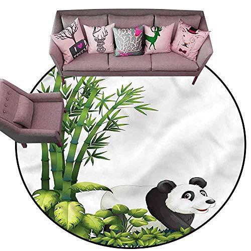 - Bathroom Rug Kitchen Carpet Panda,Cute Panda Bear Bamboo Diameter 72