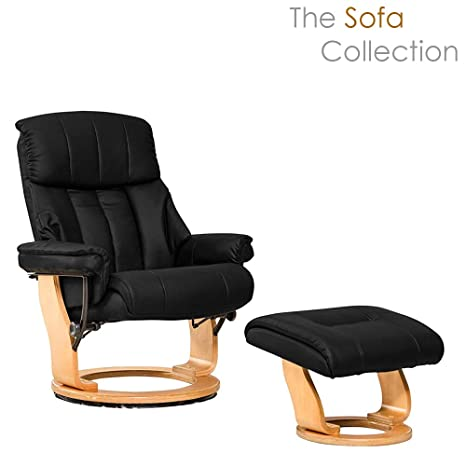 Wondrous Canneto Swivel Recliner With Matching Footstool In Bonded Leather Black Evergreenethics Interior Chair Design Evergreenethicsorg