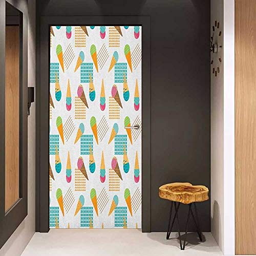 Onefzc Sticker for Door Decoration Ice Cream Pattern in Scandinavian Style Cones with Colorful Scoops and Geometric Design Door Mural Free Sticker W17.1 x H78.7 Multicolor