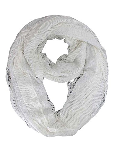White Open Weave Summer Knit Infinity (Weave Rayon Scarf)