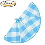 VEEYOO Dish Towels Round 22 Inch Dia. 100% Cotton, Set of 8 Oversized Kitchen Tea Towels, Plaids Pattern in Blue