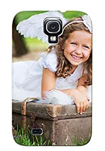 Durable Case For The Galaxy S4 - Eco-friendly Retail Packaging(girl Suitcase Flashlights Joy Mood Grass Angel )