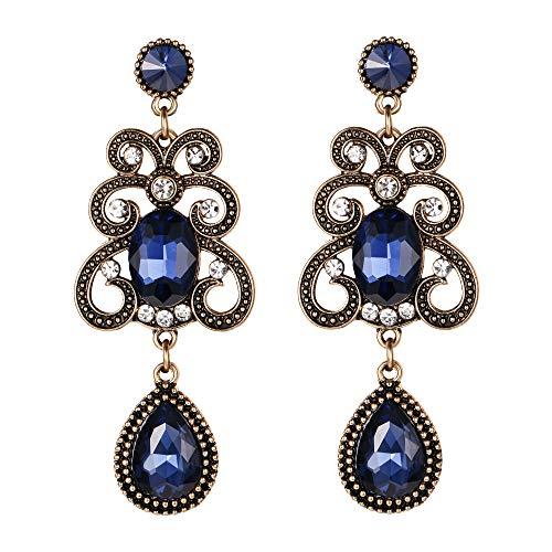 EVER FAITH Women's Vintage Spindrift Teardrop Oval Crystal Dangle Earrings Blue Antiqued Gold-Tone