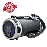 Woozik S29 Portable Loud Bluetooth Boombox Speaker - with Micro SD Card, Aux, Back-lit LED Light, FM Radio, Rechargeable Battery, Leather Cover & Strap, and 4'' Subwoofer - Great for Indoor and Outdoor